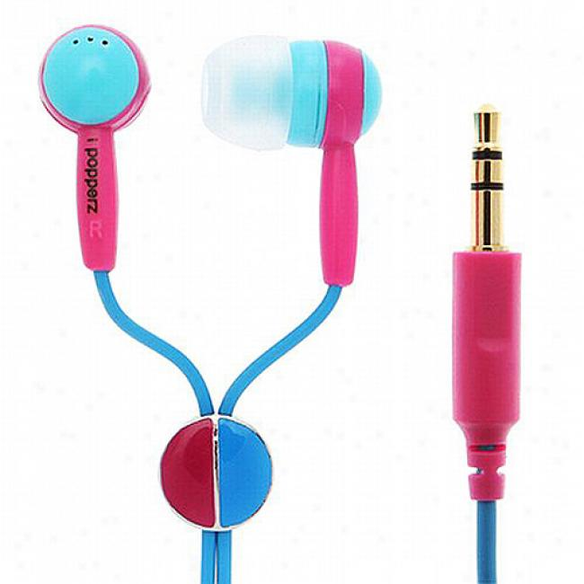 Ipopperz Light Blue/rose/dark Blue Eargud Headphones