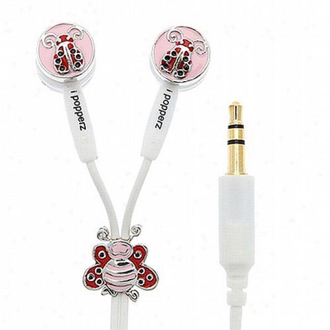 Ipopperz Lucky Ladybug Earbud Headphones