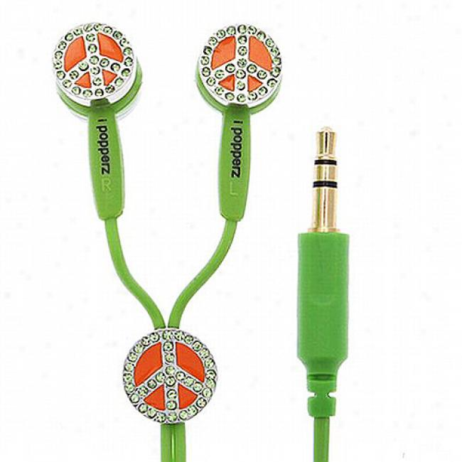 Ipopperz Peace Sign Earbud Headphones