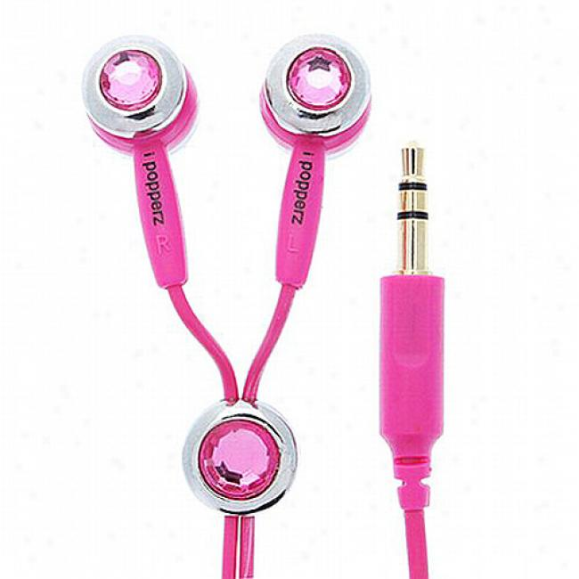 Ipopperz Rose Crystalline Jewels Earbud Headphones