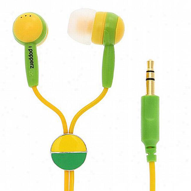 Ipopperz Stereo Earbud Headphones, Yellow/green