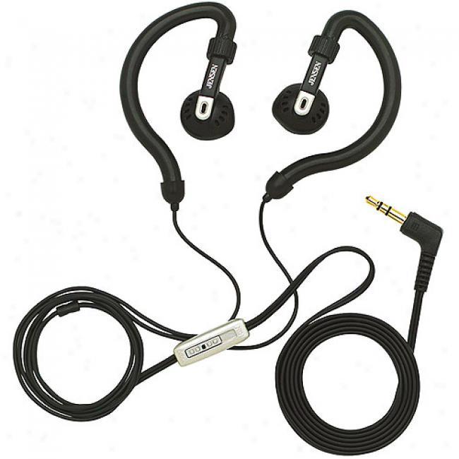 Jensen Lightweight Ear-hook Headphones - With In-line Book Control