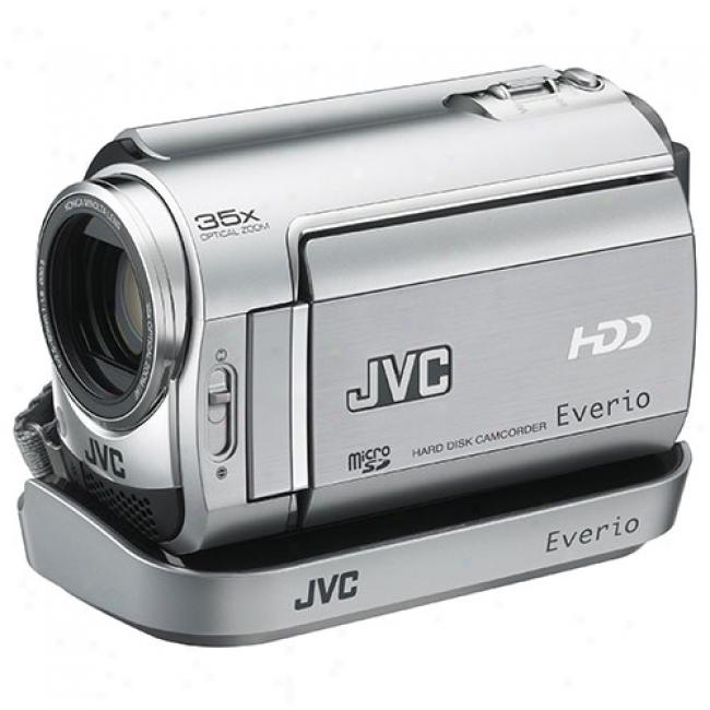 Jvc Everio Gz-mg335 Silver Hdd Camcorder W/ 30 Gb Hard Drive, 35x Optical Zoom, Includes Dock