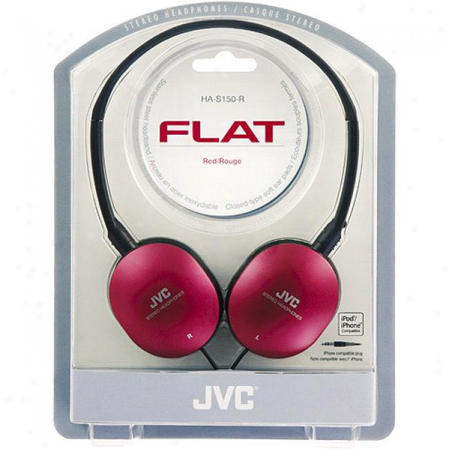 Jvc Flat Gumy Headphone, Has150r Red