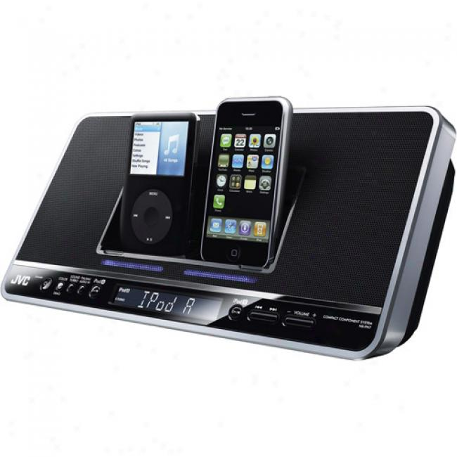 Jvc Stereo Clock Radio With Dual Ipod Docks, Nx-pn7