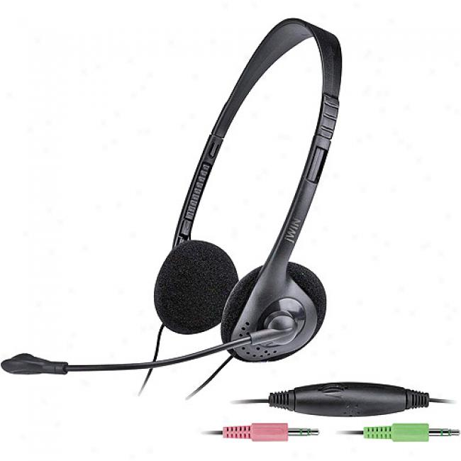 Jwin Pc/gaming Stereo Headphones With Microphone And In-line Volume Control