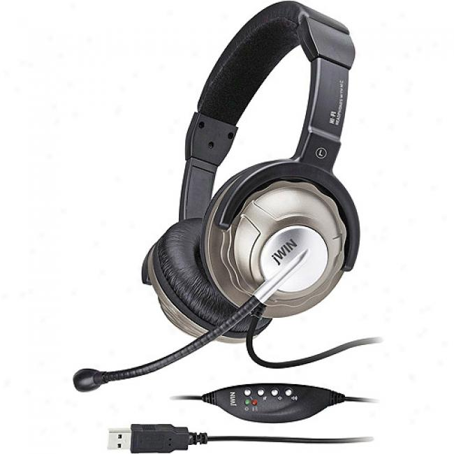 Jwin Pc/gaming Stereo Headphones With Microphone And In-line Digital Volume Control/usb