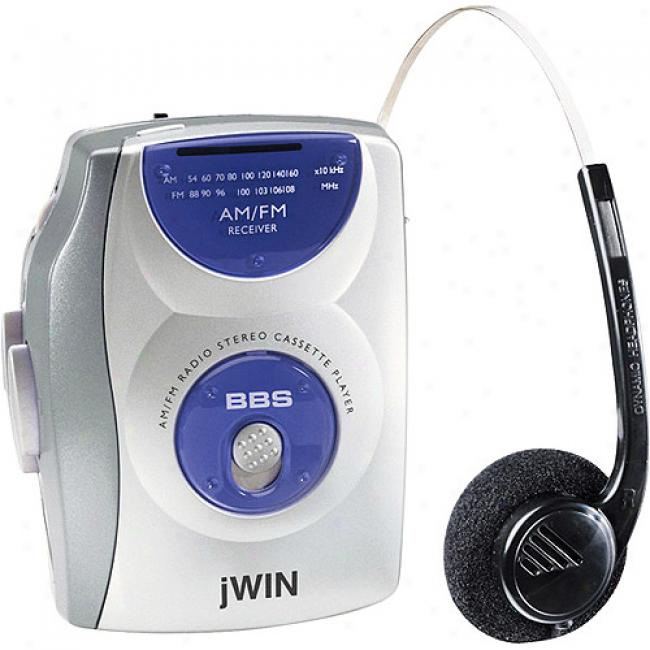 Jwin Personal Am/fm Stereo Cassette Player, Blue