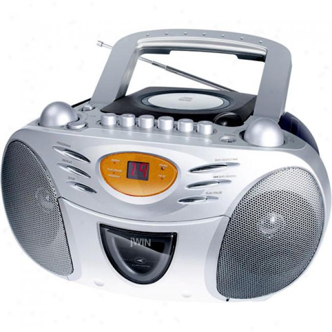 Jwin Movable Am/fm Cd Boombkx With Cassette Player/recorder