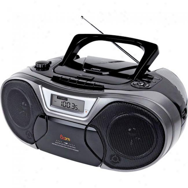 Jwin Portable Mp3 Cd/cd Boombox With Cassette And Am/fm Radio