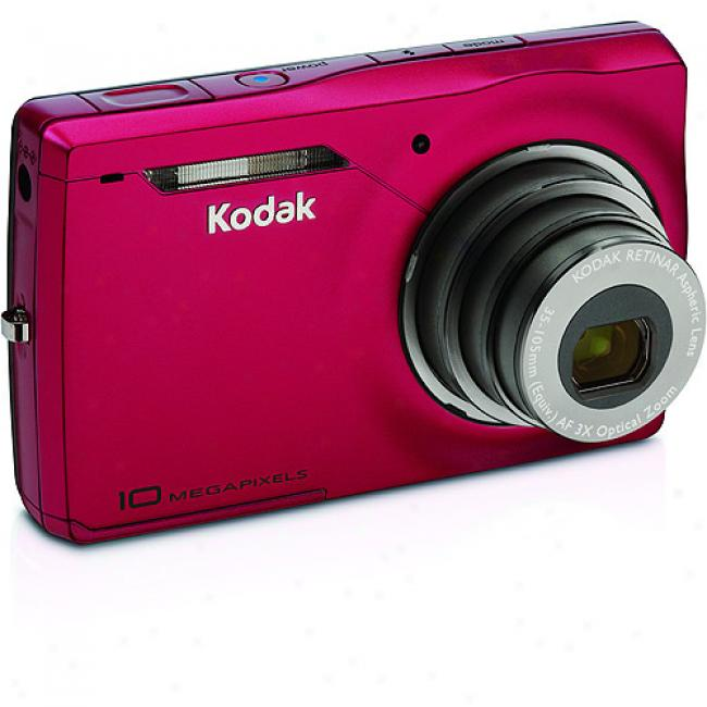 Kodak Easyshare M1033 Red 10mp Digital Camera With Digital Image Stabilization, 3x Optical Zoom