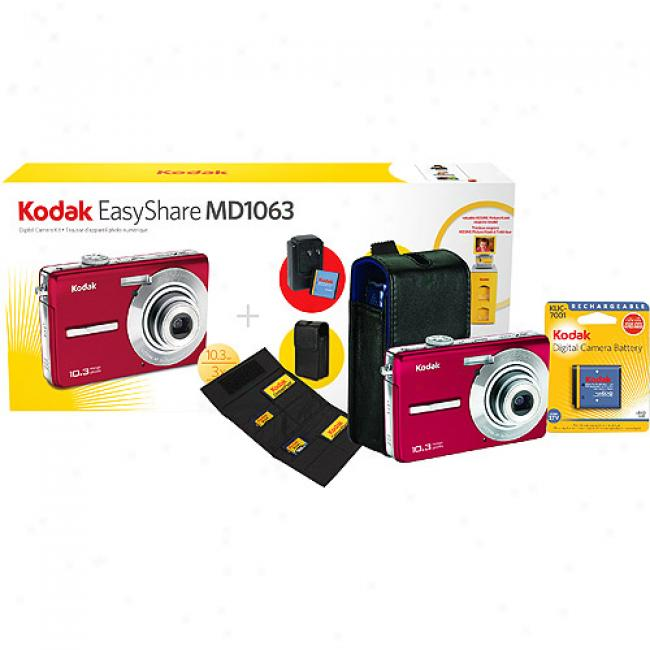 Kodak Easyshare M1063 Red ~ 10mp Digital Camera Bundle Includes Camera Case, Sd Card Media Wallet, Wall Charger W/ Rechargeable Batteryy, And Lcd Cleaning Cloth