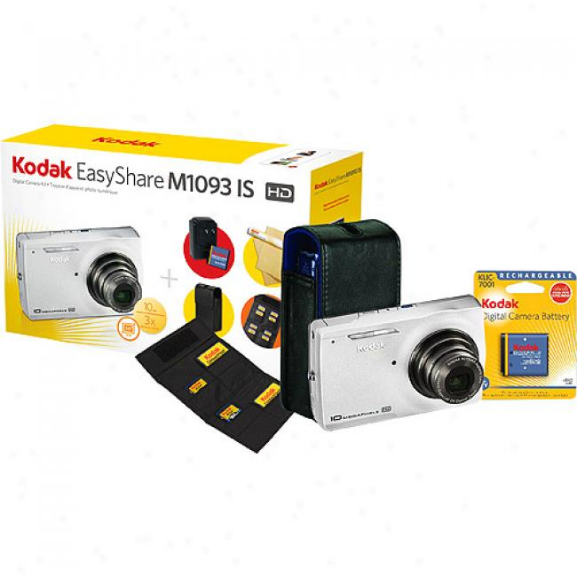 Kodak Easyshare M1093-is Sivler ~ 10mp Digital Camera With 'high-def ' Capture, Includes Bonus Camera Case, Memory Card Wallet, Wall Charger For Nimh Rechargeable Battery (included), Len Ceaning Kit