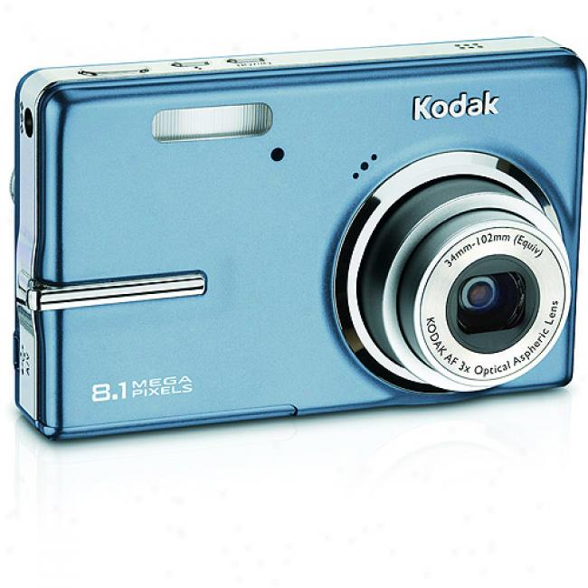 Kodak Easyshare M893 Light Blue 8.1mp Digital Camera W/ 3x Optical Zoom, Face Detection
