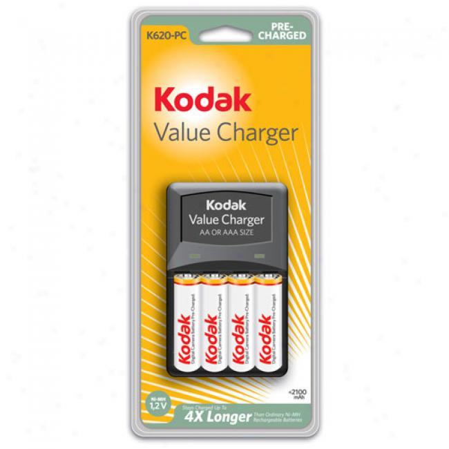 Kodak Overnight Charger W/ 4 Pre-charged Nimh As Batteries