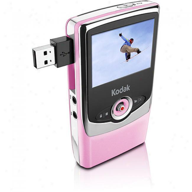 Kodak Zi6 Pink High Definition Flash Video Camcorder
