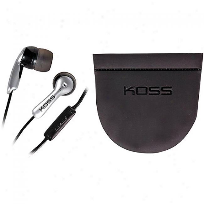 Koss Earbud Stereophones - Black And Silver With Case