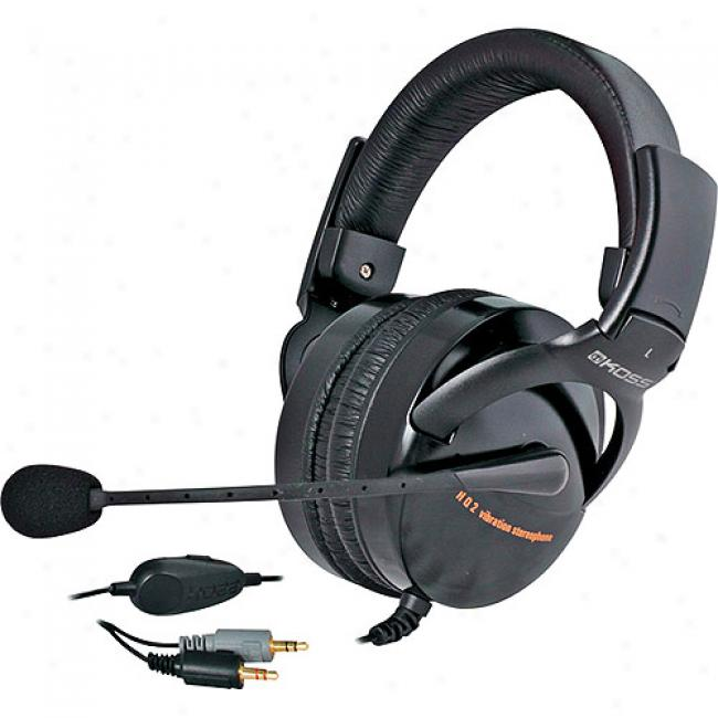 Koss Folding Full-size Stereophones With Vibration Circuitry And Noise Reduction Microphone