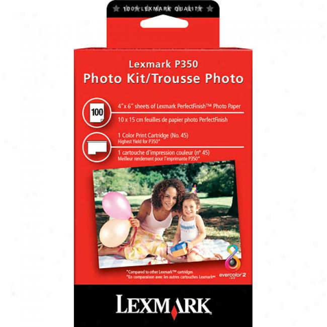 Lexmark Color Ink Cartridge & Photo Paper Kit (100 Sheets) For P250, P350 Printers