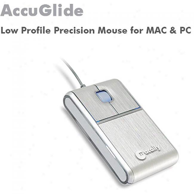 Macally Accuglide Low-profile Aluminum Precision Mouse For Mac Or Pc