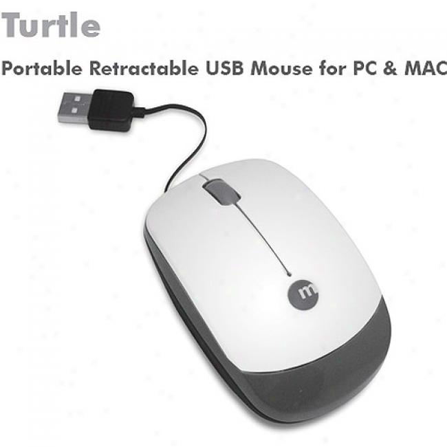 Macally Turtle Usb Portable Laser Mouse With Retractable Cable For Mac Or Pc