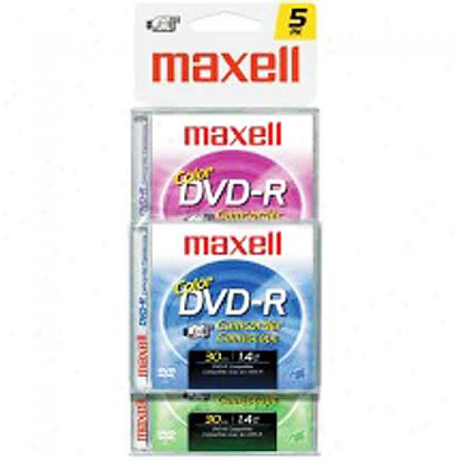 Maxell 30-min Write-onde Mini Dvd-r For Dvd Camcorders, 5-pack In Assorted Colors
