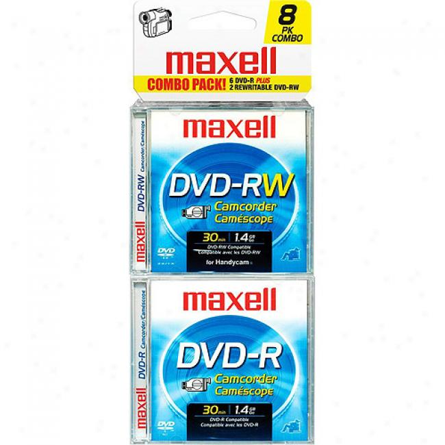 Maxell 8cm Dvd-r/rw Camcorder - 6 Pack Dvd- r+ 2 Pack Dvs-rw