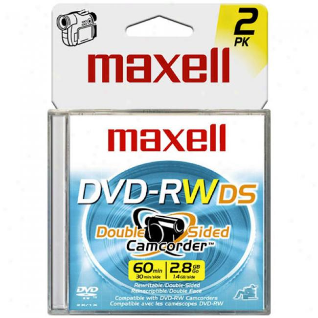 Maxell 8cm Rewritable Double-sided Dvd-rw For Camcorders, 2-pack