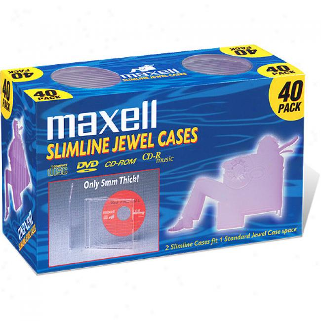 Maxell Clesr Slim Jewel Cases, 40-pack