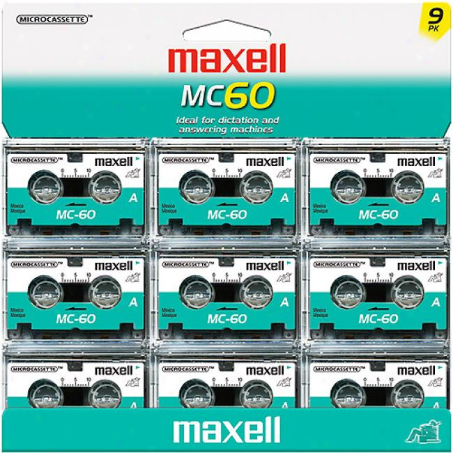 Maxell Mc60 60-minute Microcassette Tapes, 9-pack