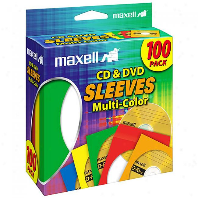 Maxell Multi-color Cd/dvd Sleevew - Multi-color, 100 Pack