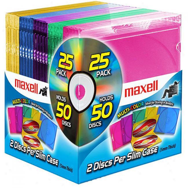 Maxell Multi-color Dobule Slim Jewel Cases, 25-pack