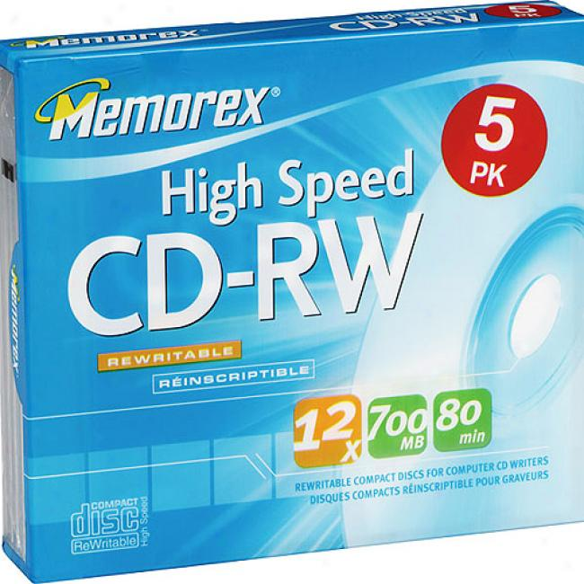 Memorex 12x High-speed Rewritable Cd-rw For Data - 5 Pack