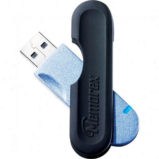 Memorex 1gb Traveldrive Capless Draw Usb Flash Drive, Blue