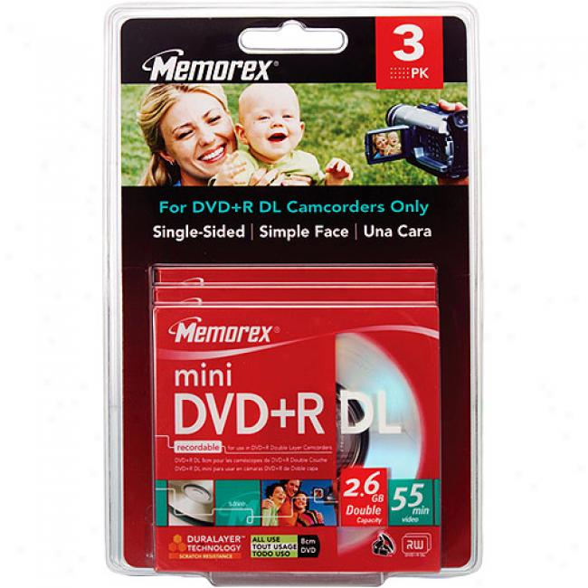 Memorex 2.4x Write-once Mini Dvd+r Blister Pack - 3 Pack