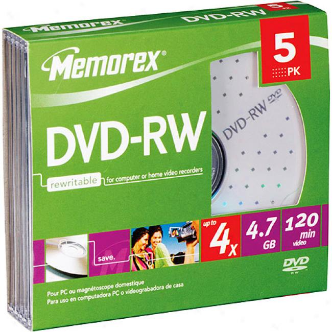 Memorex 2x Rewritable Dvd-rw - 5 Pack, Slender, Jewel Case