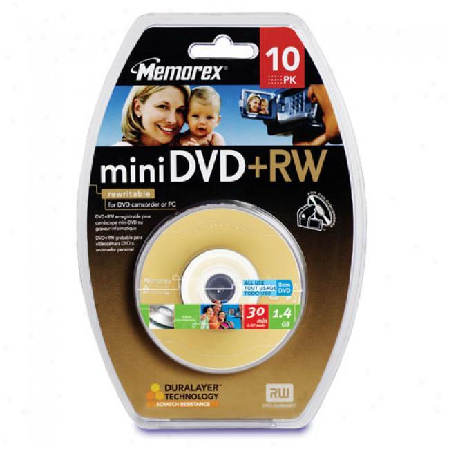 Memorex 30-min Mini Dvd+rw Dvd Camcorders, 10-pack