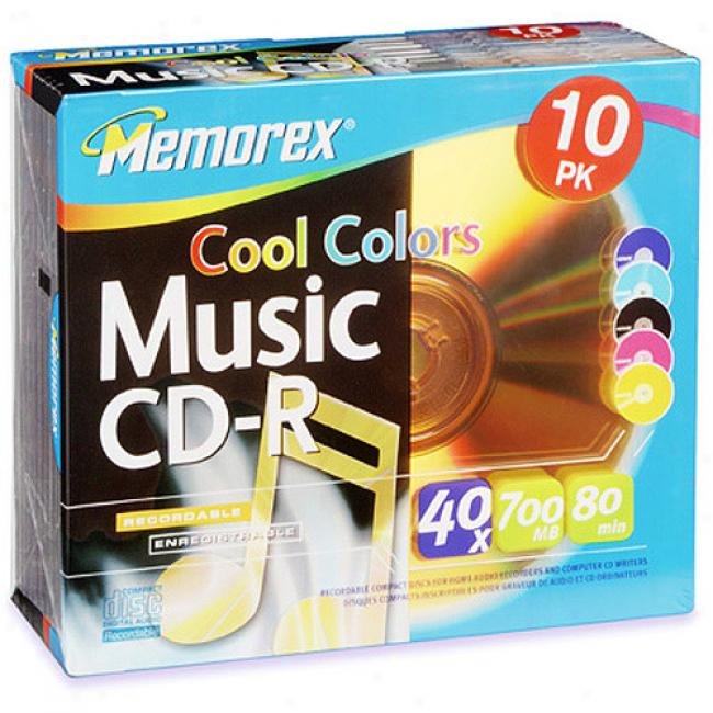 Memorex 40x Grow ~ Colors Write-onve Cd-r For Audio - 10 Pack, Jewel Case