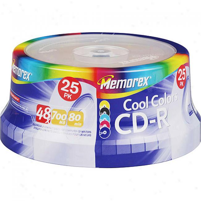 Memorex 48x Cool Colors Write-once Cd-r Spindle - 25 Disc Spindle