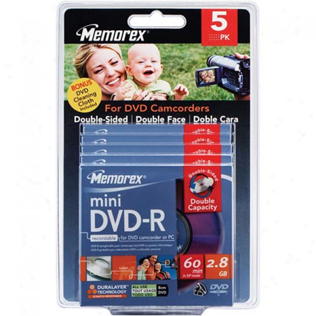 Memorex 4x Double-sided Write-once Mini Dvd-r Blister Pack, 5-pack