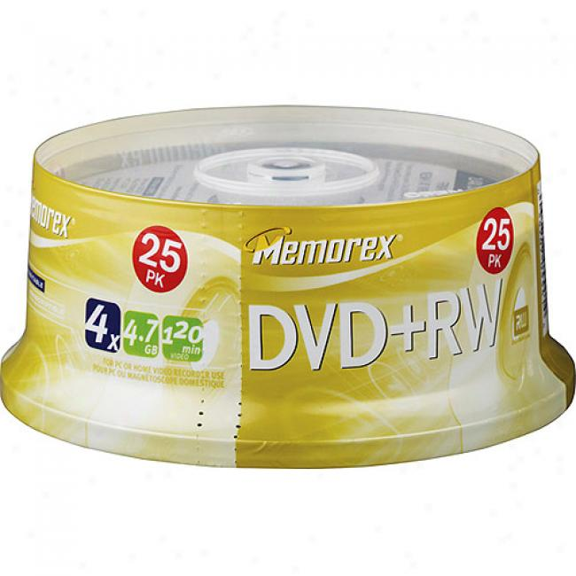 Memorex 4x Rewritable Dvd+rw Spindle - 25 Disc Spindle