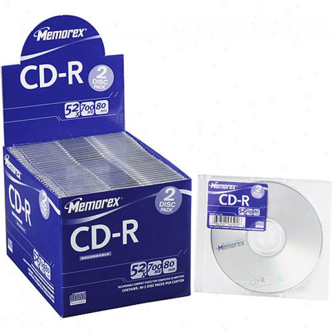 Memorex 52x Cd-r 80 In 30 Pack Counter-top Display - Twin 30 Packs