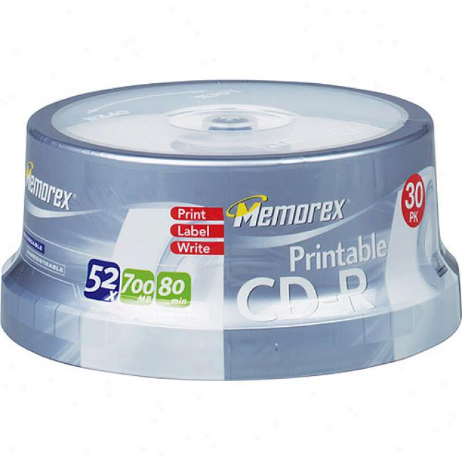 Memorex 52x Write-once Cd-r Spindle With Ink Jet Printable Surface - 30 Disc Spindle