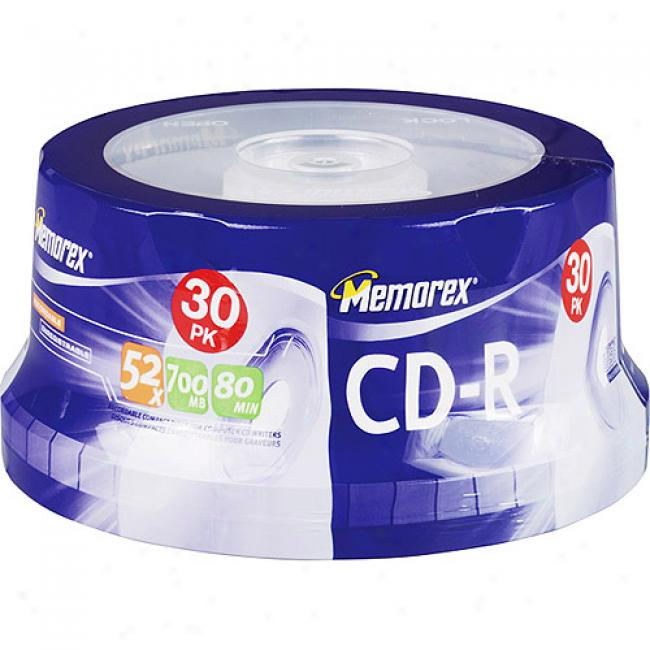 Memorex 52x Write-once Cd-r Spindle - 30 Disc Spindle