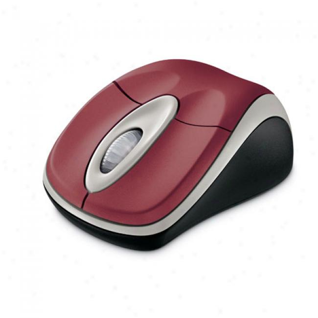 Microsoft Wireless Notebook Optical Mouse, Pomegranate Red