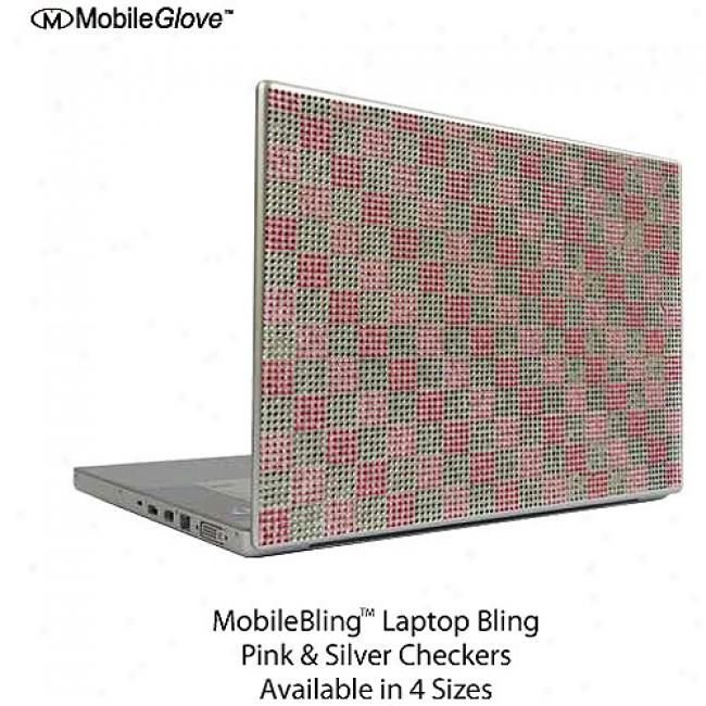 Mobilebling Notebook Cover Pink And Silver Checker Board 13.3