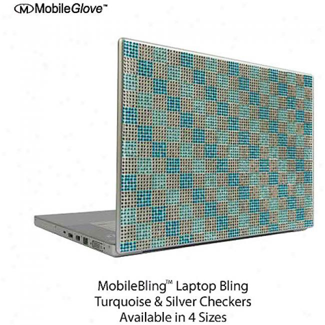 Mobilebling Notebook Cover Turquoise And Silver Checker Board, 15.4