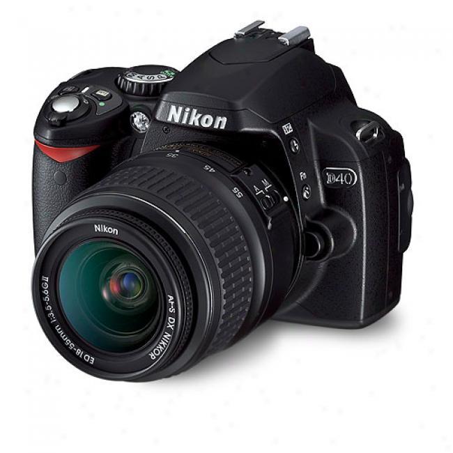 Nikon D40 Black ~ 6.1 Mp Digital Slr Camera Kit W/ 18-55mm Zoom Lens