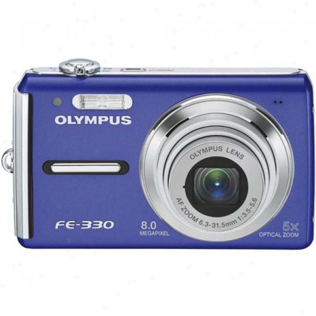 Olympus Fe-330 Blue ~ 8 Mo Digital Camera W/ 5x Optical Zoom, Image Stabilization