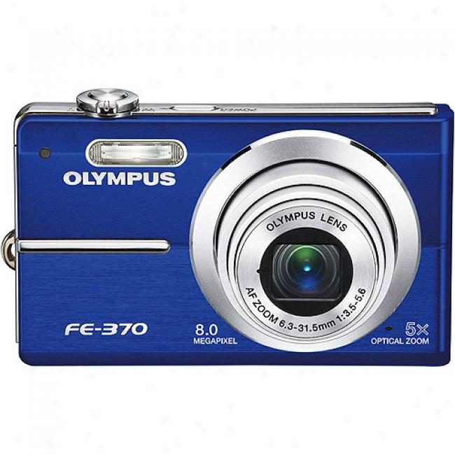 Olympus Fe-370 Blue 8mp Digitall Camera, 5x Optical Zoom, 2.7